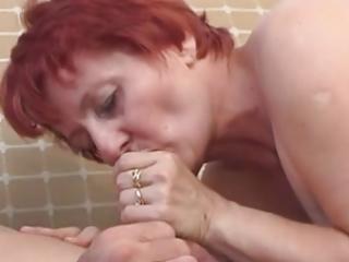 redhead granny drilled