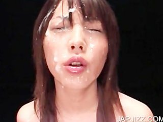 oriental gal getting facial jizzed