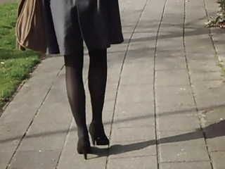 office lady hot legs walking
