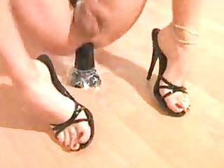 lady-boy in heels toying jerking off solo