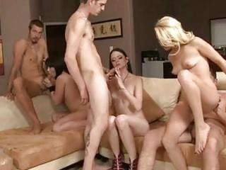 pale sluty cuties enjoying in group sex with