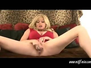 Busty blonde milf mia masturbates and squirts