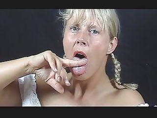a blonde cum eater.....her own