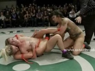 lewd women fight sweating hard