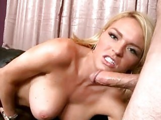 teasing golden-haired with big breast sucks