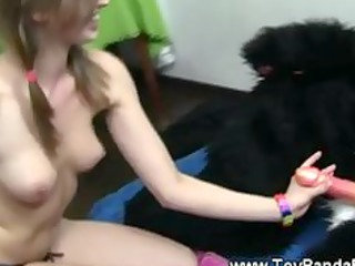 cute legal age teenager copulates toypanda sex toy
