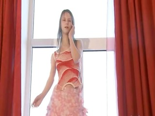 dance and disrobe in pink nylons