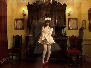 cute japanese maid shows her timid pants