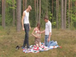 non-professional danish trio in the forest
