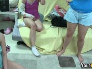 sorority gals dancing exposed in the dorm room