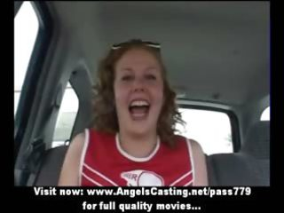 sporty redhead cheerleader flashing slit and love