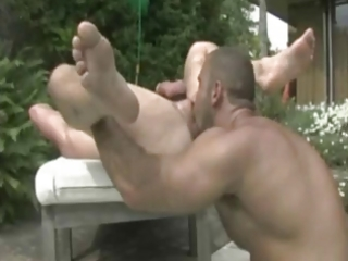 tattooed excited males banging by the pool.