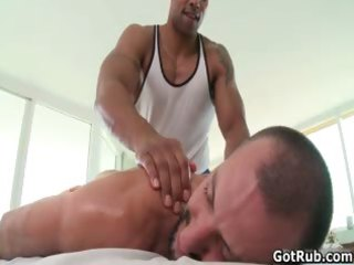pumped up hairless hunk massage stud then