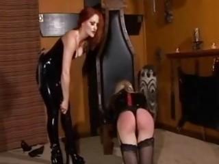 lady-boy dominant spank her messy shemale bondman