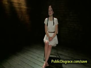 hooded sweetheart flogged and screwed in public