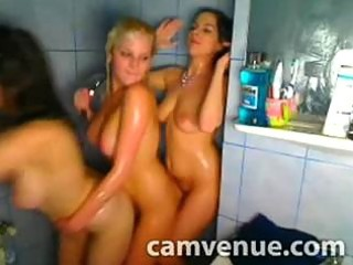 steamy triple lesbian shower enjoyment in college