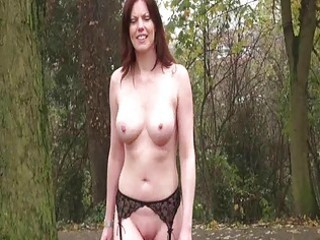 uk housewife flashing with holly in redhead public