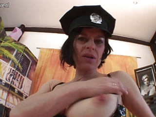 older cop likes to play with her unshaved snatch