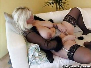 corpulent housewife in nylons plays with fresh