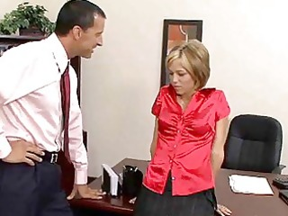 blond secretary undresses garments to fuck in