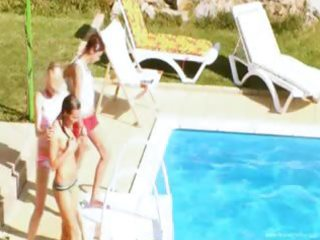 legal age teenagers secret fucking by the pool