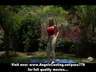youthful blond exercising and undressing and