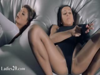 chicks in hose fucking with thong on