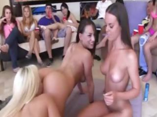 coed gals enjoying swingers act
