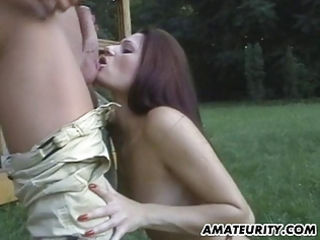 very sexy dilettante girlfriend outdoor act with