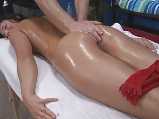 sexy oiled brunette hair being screwed