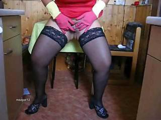 overweight older in darksome nylons