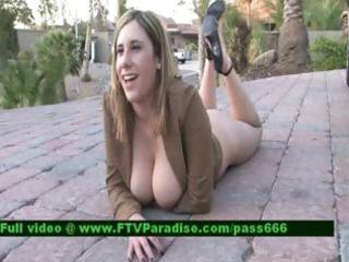 ingenious breasty woman acquires exposed outdoor