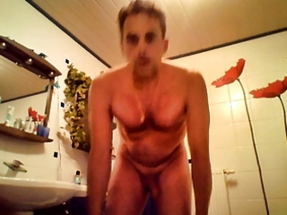 m in washroom