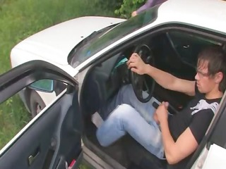 russian hotty drilled on the car