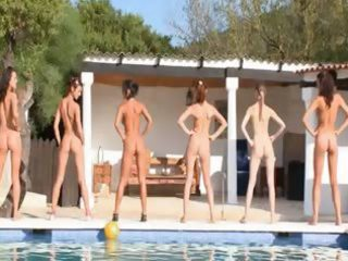 six stripped angels by the pool from germany