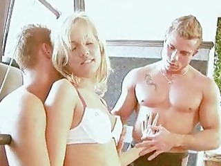 blond gal group-fucked at the gym