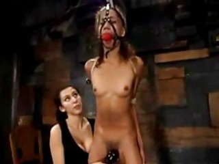 Slim Latina Girl Bondaged Getting Her Hairy Pussy