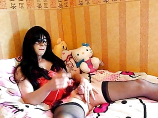 t-girl supersatin blows a large sticky load