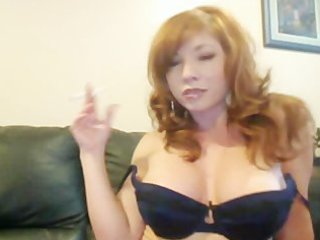 redhead smokes and shows pointer sisters
