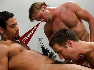 hunks using coachs offfice for group sex