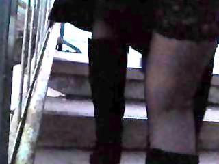 darksome nylons and white garterbelt upskirt