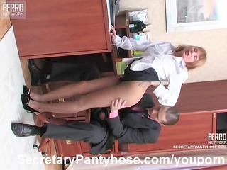 Pantyhose sex in the office