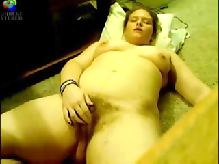 curly big beautiful woman play on webcam