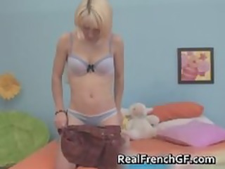 golden-haired french whore shows her sex toy part1