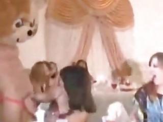 bachelorette party hotties engulf stripper rod