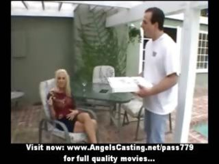 sexy blond doing irrumation and cook jerking and