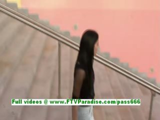 suri angelic brunette hair woman flashing wet