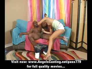 appealing hot golden-haired playgirl doing oral