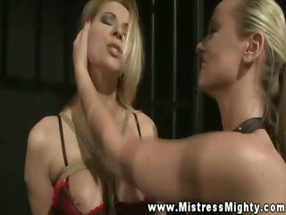 goddess roughing up slaves muff with her rock