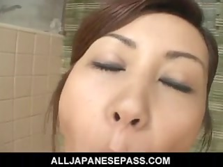 captivating japanese cougar nana nanami soaps up